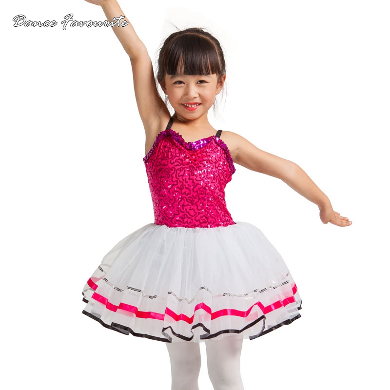 Dance Favourite Fuchsia sequin spandex top bodice dance costume tutu, ballet girl stager performance ballet tutu, 150801