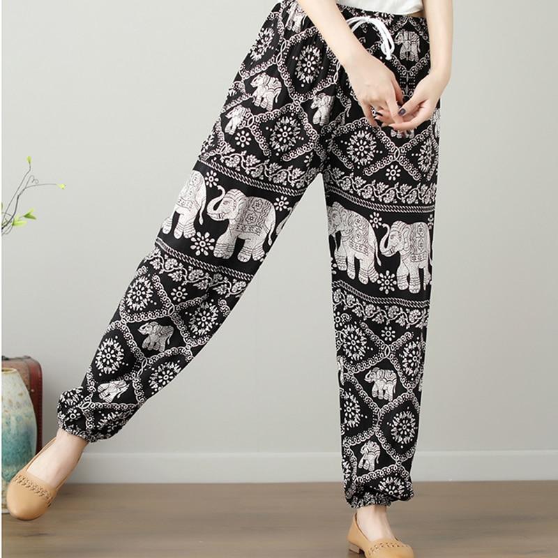 Elephant Print Casual Wide Leg Drawstring Pants women Autumn High Waist Loose Elastic Beach pantalones mujer cintura alta