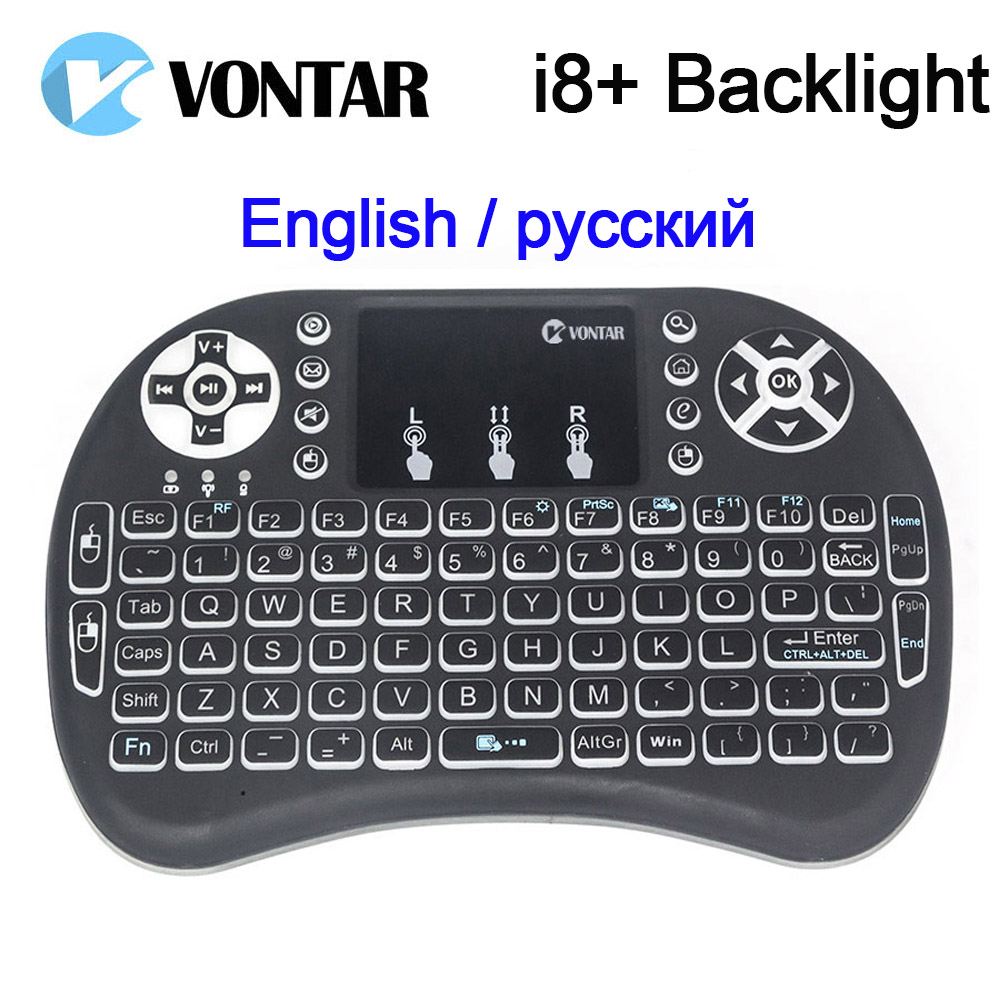 VONTAR i8+ i8 English Russian backlight optional Mini Wireless Keyboard 2.4GHz Air Mouse touchpad for android TV Box Laptop PC