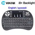 Vontar luz de fondo opcional inglés ruso mini teclado sin hilos i8 i8 2.4 ghz air mouse touchpad para android tv box pc portátil