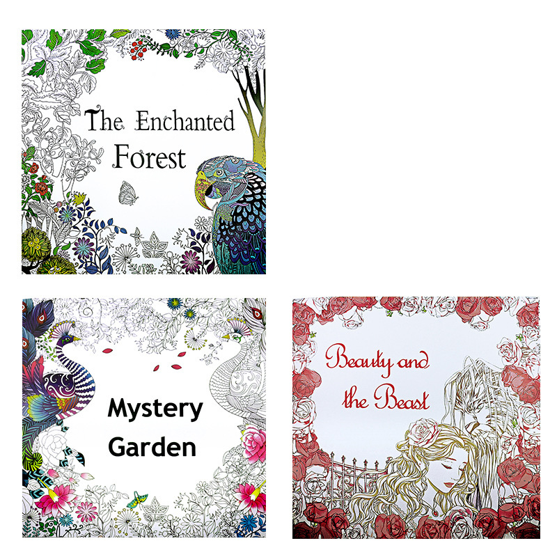 3pcs Lot 24 Pages Enchanted Forest Coloring Book For Children Adult