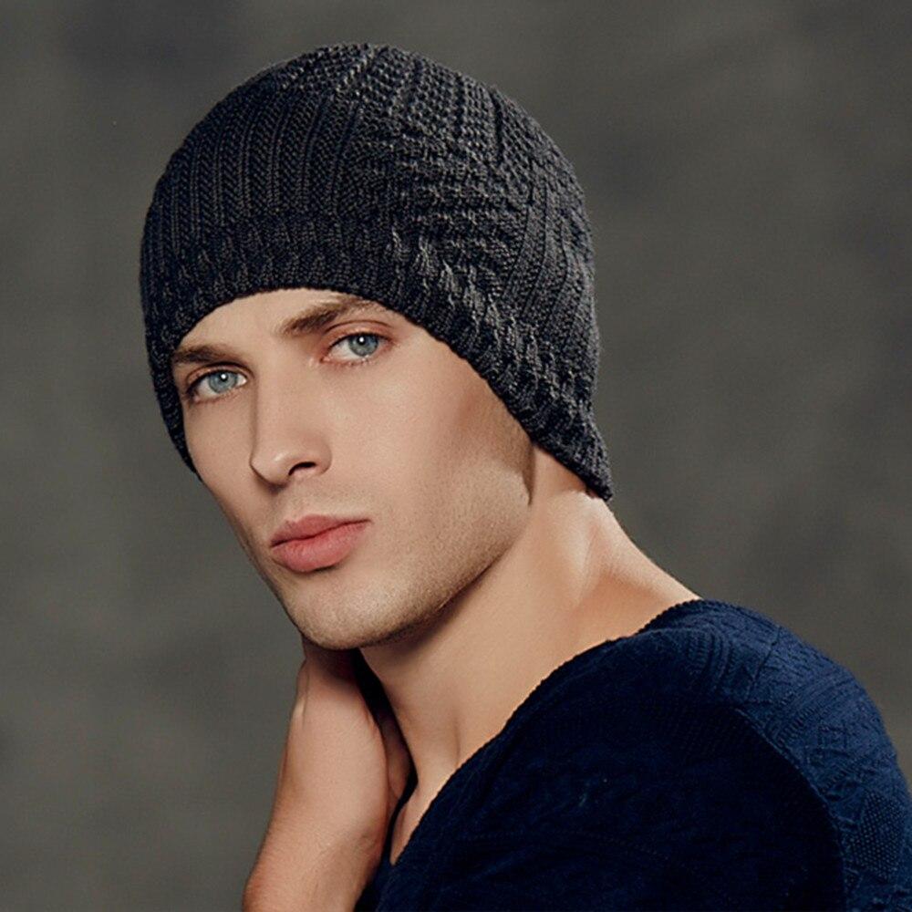 Kenmont Winter Men Male Warm Wool Acrylic Earflap Ski Hat Knit Skull ...