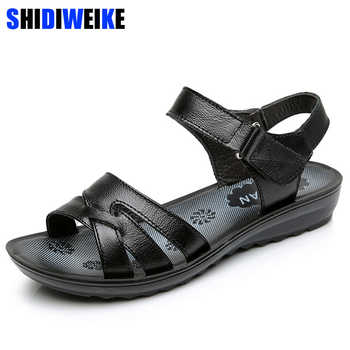 Size 35-41 Summer Women Genuine Leather Sandals Vintage Ladies Flat Sandials Ankle Strap Fashion Casual Platforms Soft Shoes - DISCOUNT ITEM  50% OFF All Category