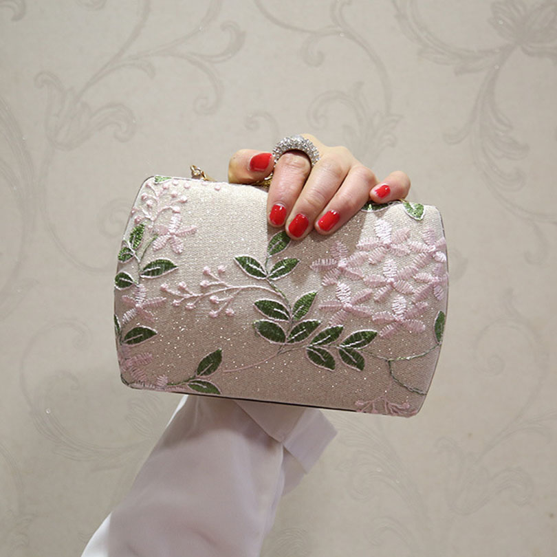 Clutches Purse Wedding-Bag Flower Embroidery Party Women Ladies Female Lace Leaf Day