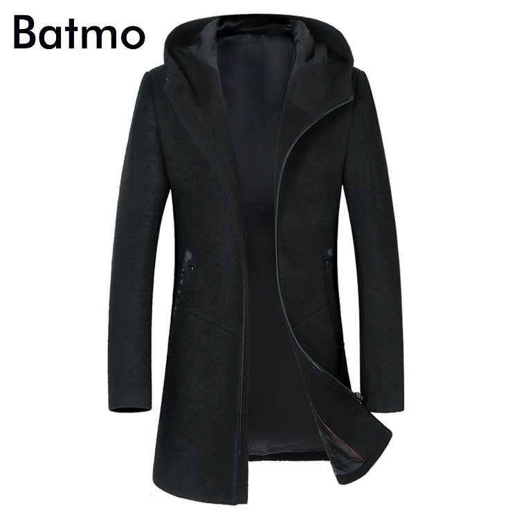 BATMO 2019 new arrival autumn&winter high quality wool hooded black trench coat men,men's wool jackets,winter coat 1812