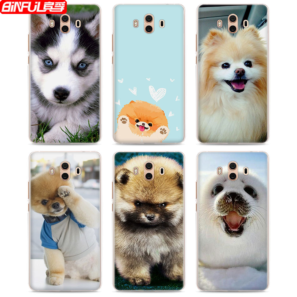 BiNFUL Hot Sale Adorable animals husky dogs style hard transparent Phone Cover Case for Huawei Mate10 Mate10 Lite P10 P8 P9 Lite