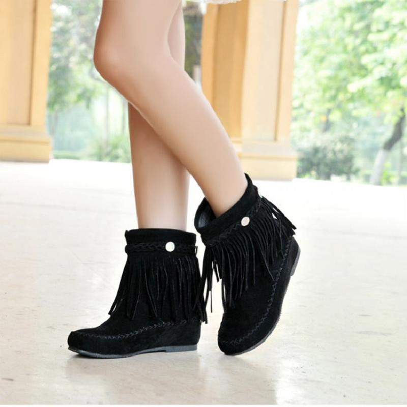 Bohême Mi Frange La mollet Bottes rouge Botas Mode Noir De Slip Ascenseur Automne marron Sur Femmes Plus Boot Chaussures Femelle Dames Pour Taille wX6SqSp