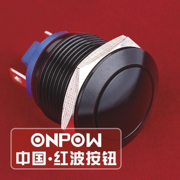 ONPOW 19mm 1NO Domed head waterproof IP65 Black Aluminium alloy Push button switch GQ19B 10 J