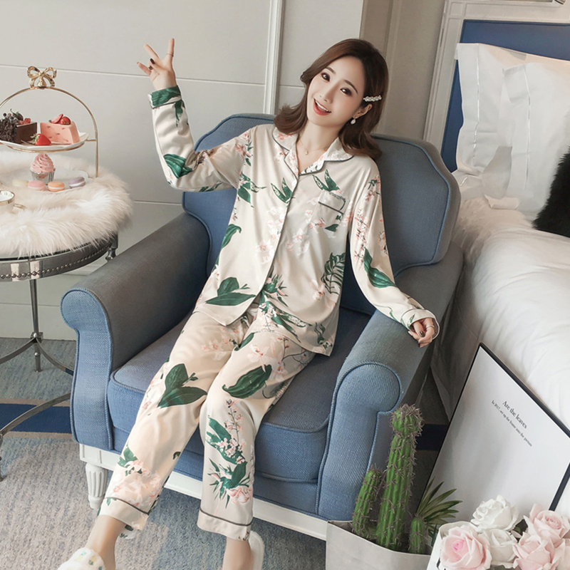 Printing Spring Pajamas Sets Women Cotton Casual Sleepwear Long Sleeve Quality Cardigan Pyjamas Women Homewear