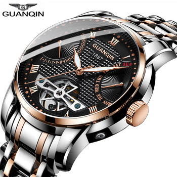 Clock men GUANQIN Watch Mechanical waterproof Automatic Tourbillon style business watch clock man swimming Relogio Masculino