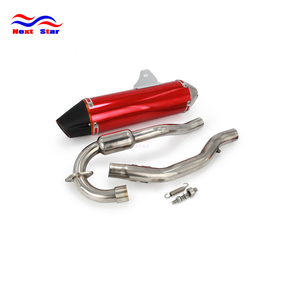 Motorcycle Red Aluminum Muffler Exhaust Pipe For Honda CRF150F CRF230F CRF 150F 230F 2003 2004 2005 2006 2007 2008 2009-2013 for honda crf 250r 450r 2004 2006 crf 250x 450x 2004 2015 red motorcycle dirt bike off road cnc pivot brake clutch lever