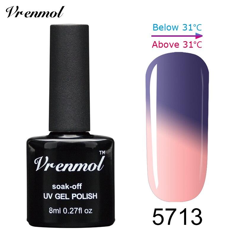 Vrenmol, 1 шт., меняющий цвет, замачиваемый УФ-гель, цвета, лак Verniz, Термальный, меняющий настроение, Гель-лак для ногтей - Цвет: 5713