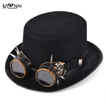 Retro Rivet Goggles Top Hat Punk Steampunk Lolita Cosplay Hat Spike Fedoras Hat Vintage - DISCOUNT ITEM  13% OFF All Category