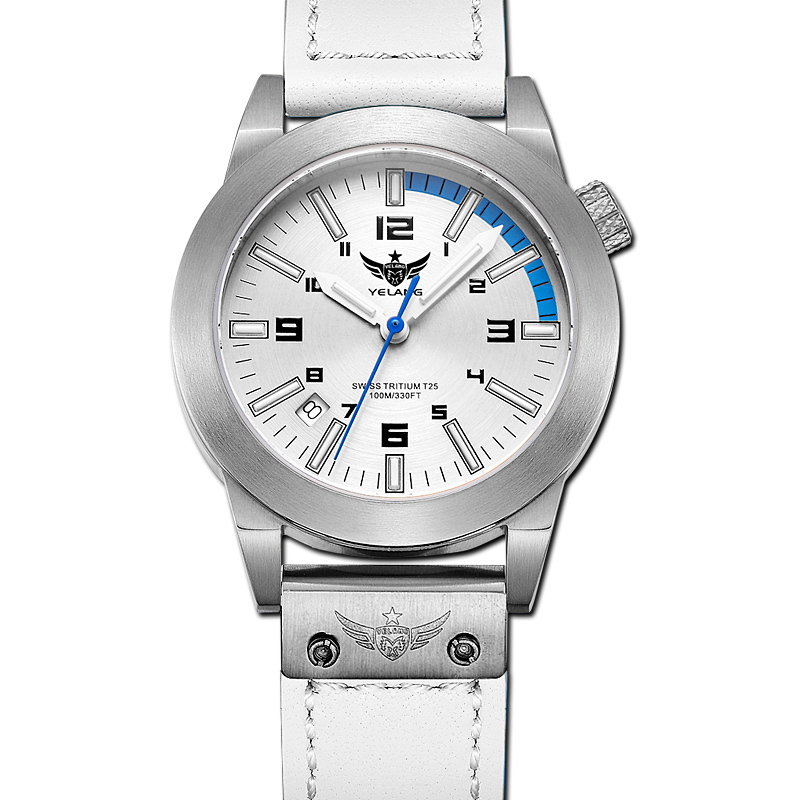 где купить YELANG V1010  tritium gas self luminous lady leather strap sapphire mirror waterproof 100m business women style watch wristwatch по лучшей цене