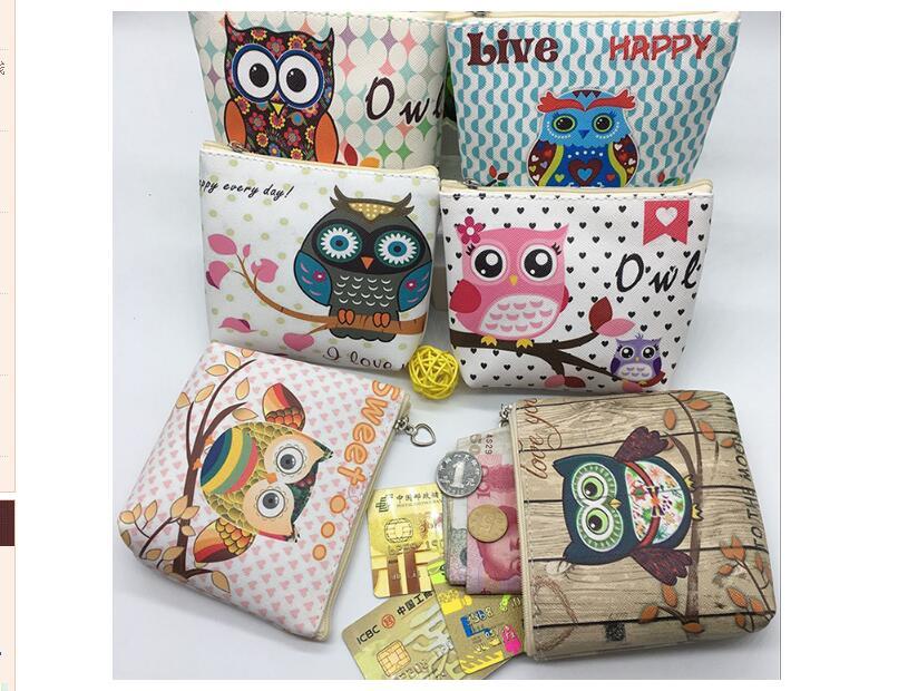 The new 2017 European and American wind cartoon owl wallet Han edition boutique children's PU zero wallet to receive package european and american 2017 new lychee grain 100