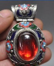 Chinese ancient Tibet silver pendant cloisonne inlaid gems/1 free shipping 8 chinese tibet silver cloisonne mosaic natural flower exquisite bracelet 5 24
