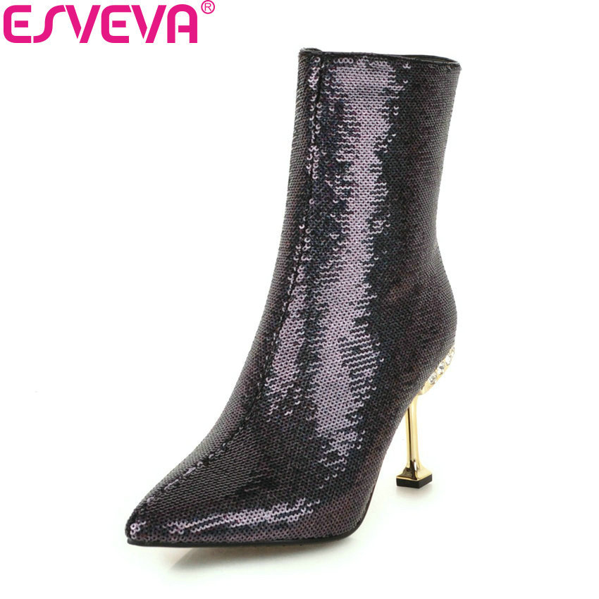 ESVEVA 2019 Women Boots Crystal Pointed Toe Zipper Shoes High Heels Ankle Boots Sequins PU Solid Autumn Fashion Boots Size 34-43 size 34 43 2016 fashion women s ankle boots black motorcycle pu leather boots solid pointed toe martin boots autumn shoes