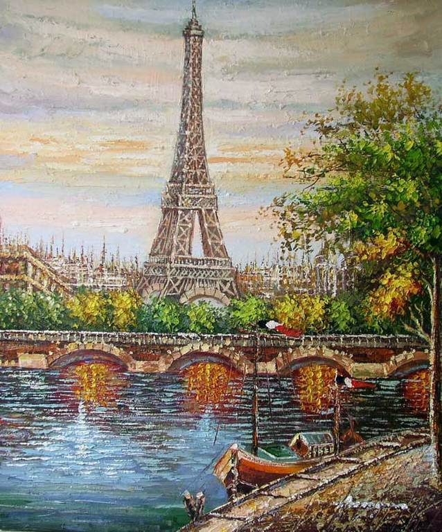Paris Eiffel Tower Seine Bridge France Oil Painting-in