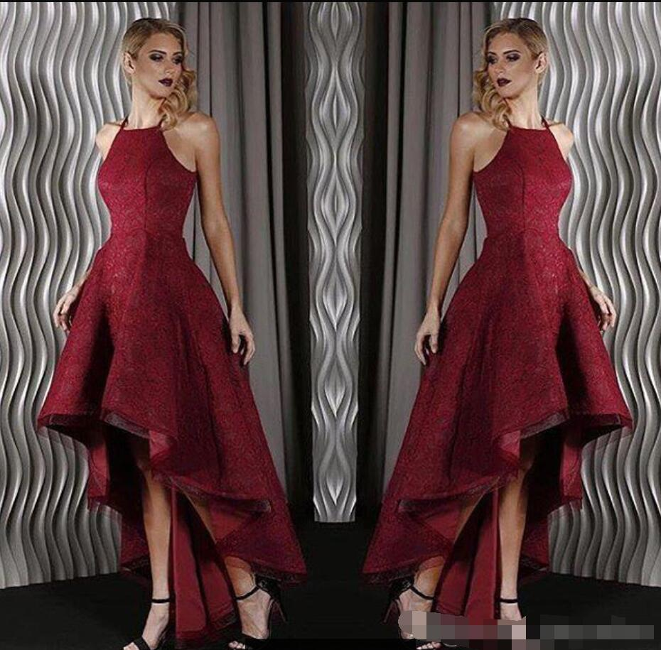 Vintage lace burgundy high low bridesmaid dresses halter short vintage lace burgundy high low bridesmaid dresses halter short front long back wedding party gowns sexy high quality custom made in bridesmaid dresses from ombrellifo Image collections