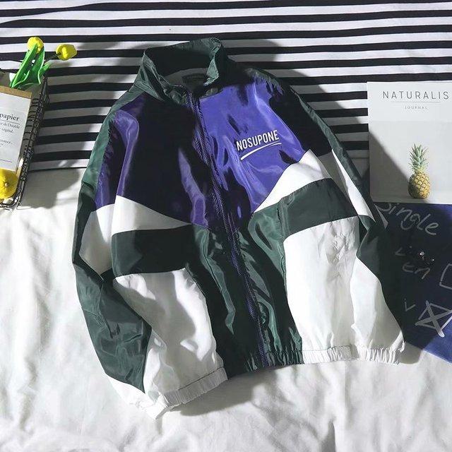 Jacket Men Windbreaker 2019 Spring/Autumn Hip Hop Couple Thin Jacket Loose Large Size Zipper Coat Trend Handsome CollarJackets