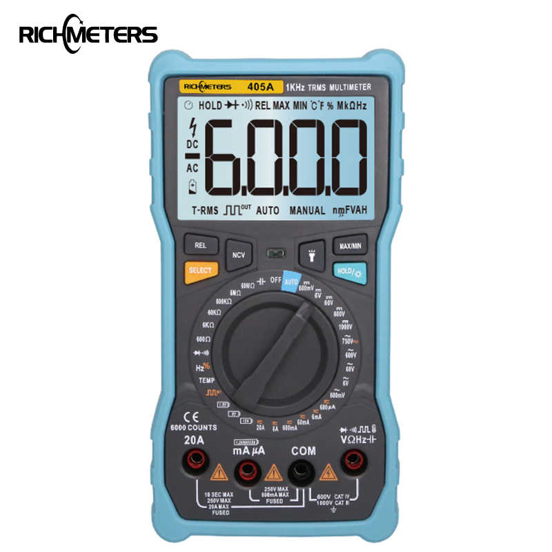 Multímetro Digital RICHMETERS 405A True-RMS 20A, 6000 recuentos de voltaje CA/CC, corriente Ohm, temperatura automática/Manual de onda cuadrada