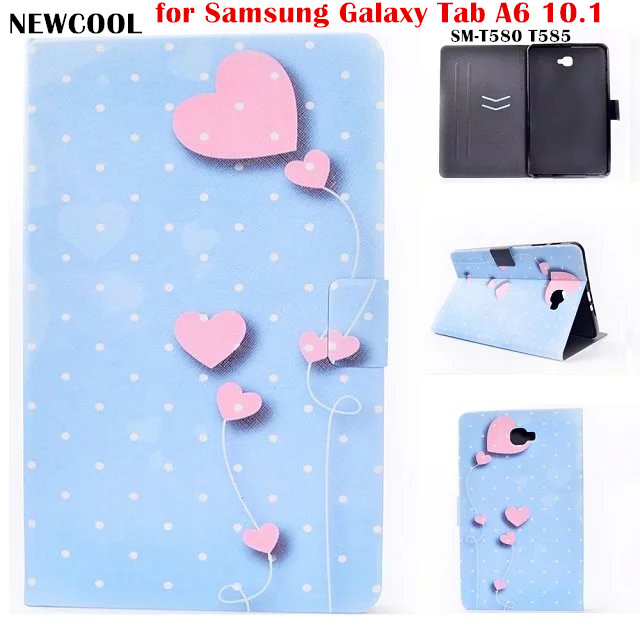 Flip Cover PU Leather for Samsung Galaxy Tab A6 10.1 2016 T585 T580 SM-T585 T580N Tablet Case Cover Soft TPU Back Cover flip cover pu leather for samsung galaxy tab a6 10 1 2016 t585 t580 sm t585 t580n tablet case cover soft tpu back cover