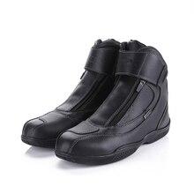 Botas de moto de Cuero Genuino de la Vaca A Prueba de agua Diseño de Moda antideslizante Zapatos de Montar Moto Racing Botas De Moto Gira