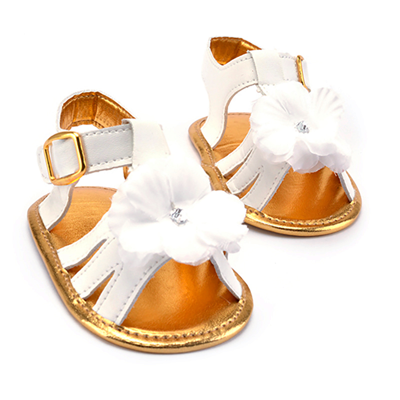 f7d9f0eb1bb8d Cute White Flower Newborn Toddler Buckle Strap Baby Girls Sandals Anti-slip On  Shoes Soft