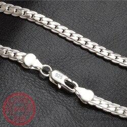 Kolye 5mm 50 cm Erkekler Takı Toptan Yeni Moda 925 ayar gümüş Büyük Uzun Geniş Trendy Erkek Tam Yan zincir Kolye