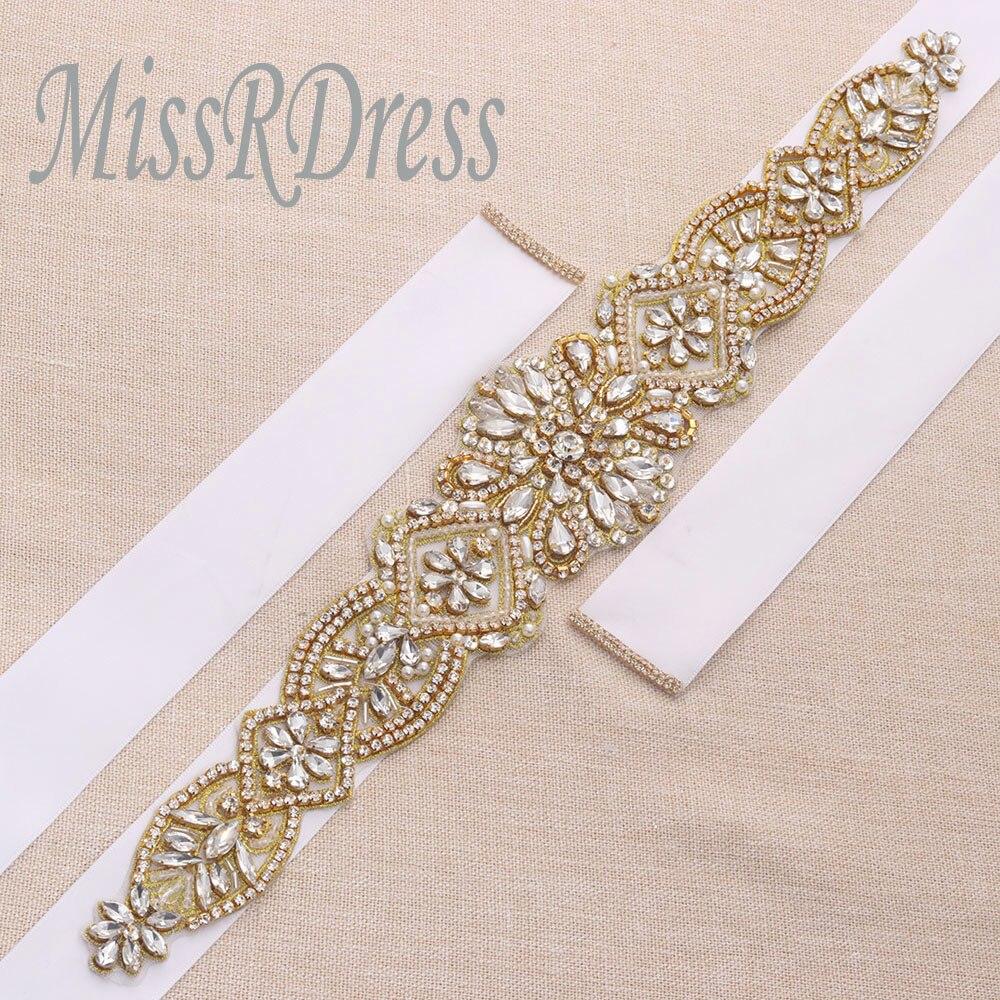 MissRDress schitterende bruidsjurk riem goud kristal strass linten - Bruiloft accessoires - Foto 5