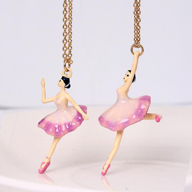 Nuevas Llegadas Ballet Dance Girl Esmalte Esmalte Mujer Collar Colgante Chapado En Oro Envío Gratis