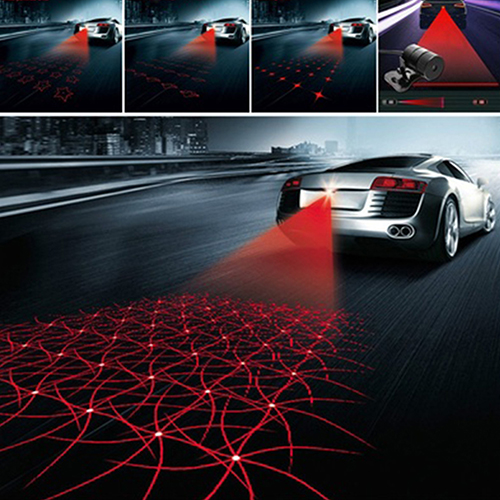 Car Laser Tail Fog Light Rainproof Anti Collision Rear-End Auto Warning Lamp