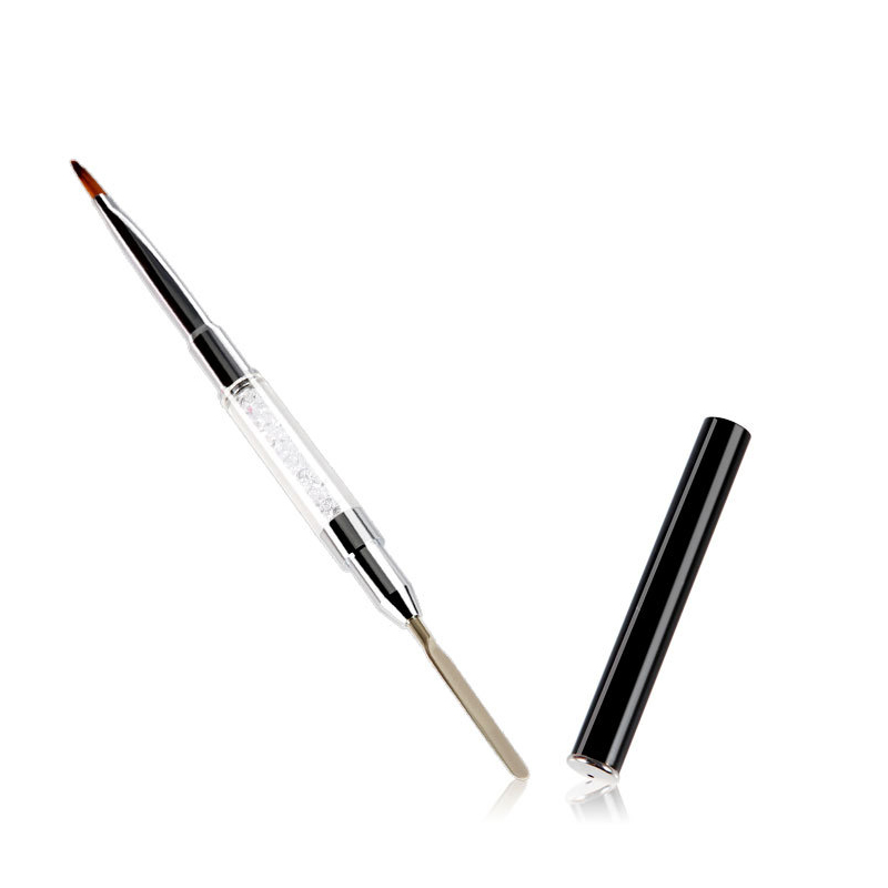 Dual End Nail Art Acrylic Handle Poly Gel Building Extension Pen Brush Spatula Manicure Tool