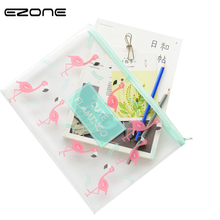 hot deal buy ezone 1pc cute nice flamingo bird file bag mesh bag pvc file folder stationery document bag office school supplies student gifts