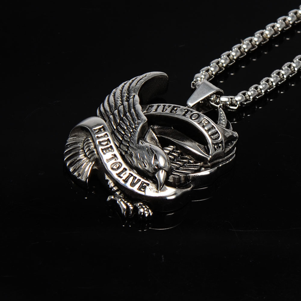 "Stainless Steel /""Live to Ride Ride to Live/"" Eagle Biker Pendant w//Necklace"