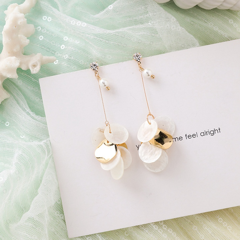MENGJIQIAO New Korea Japan Elegant Shell Starfish Drop Earrings For Women Sweety Simulated Pearl Pendientes Girl Party Jewelry 8