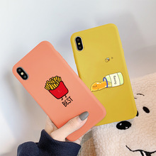 JAMULAR Cute French Fries Honey Phone Case For iPhone 7 XS MAX XR X 8 6 6s Plus Funny Coffee Food Soft Silicone Back Cover Capa