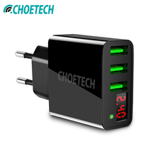 CHOETECH Universal 3 USB Charger Mobile Phone LED Display Travel Wall Charger Fast Charging Adapter For iPhone XR XS MAX