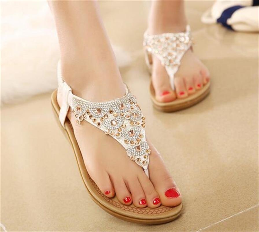 2017 Brand New Summer Flat Sandals Summer Rhinestone Crystal Bohemia Beach Flip Flops Women Shoes Zapatos Mujer Sandalias