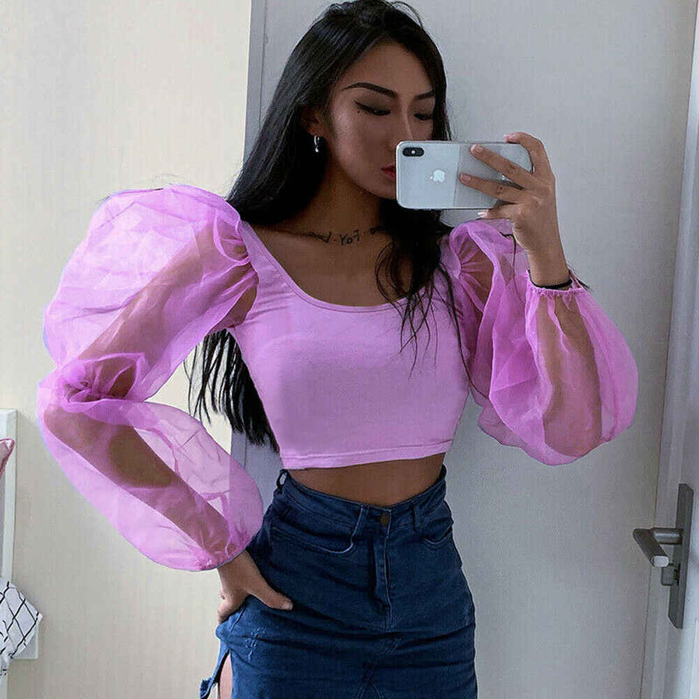 Women Slim Fit Casual Cropped Tops Sheer Low cut SplicedCasual Shirts Mesh Puff Sleeve Crop Top Stylish Blouse