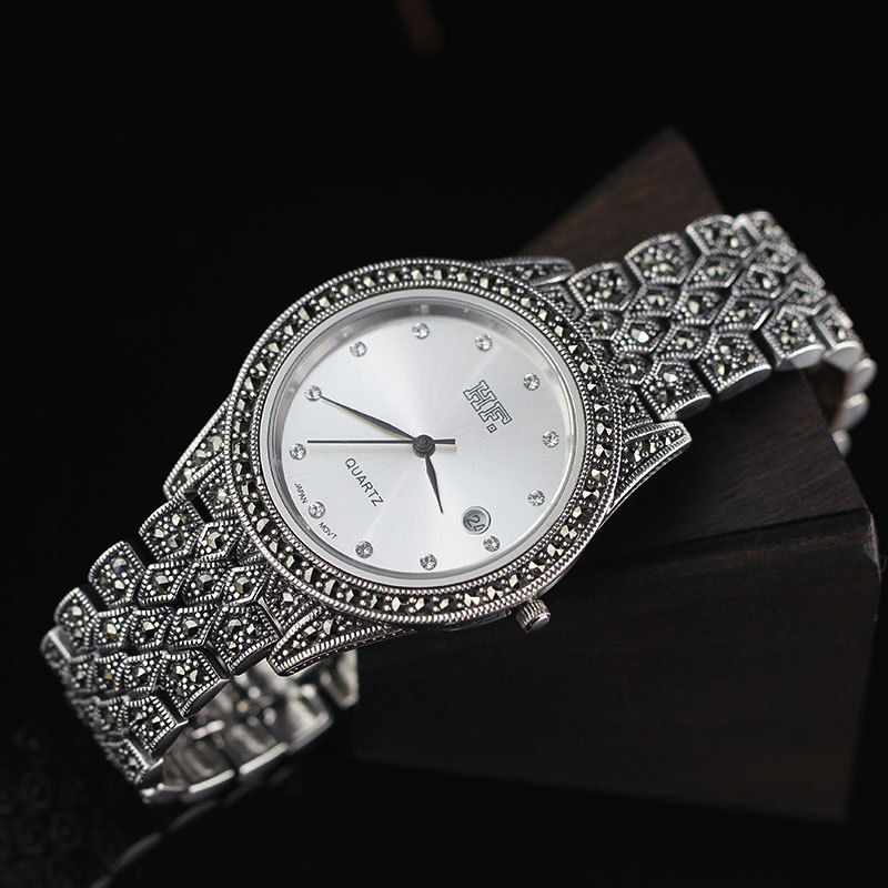 Limited Edition S925 Pure Silver Big Watch Classical Thai Silver Men Watch Women Big Silver Thailand Process Rhinestone Bangle john s oakland statistical process control
