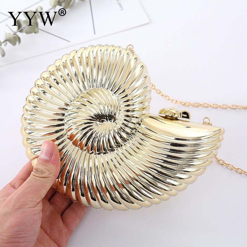 Gold Sliver Fashion Evening Clutch Women Chain Sling Shell Bags Party Wedding Crossbody Bags For Women Small Cute Purse ClutchesTop-Handle Bags   -