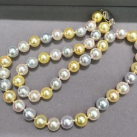 8 8.5MM multi color natural sea water pearl choker necklace akoya pearl necklace white grey gold color mixed perfect round