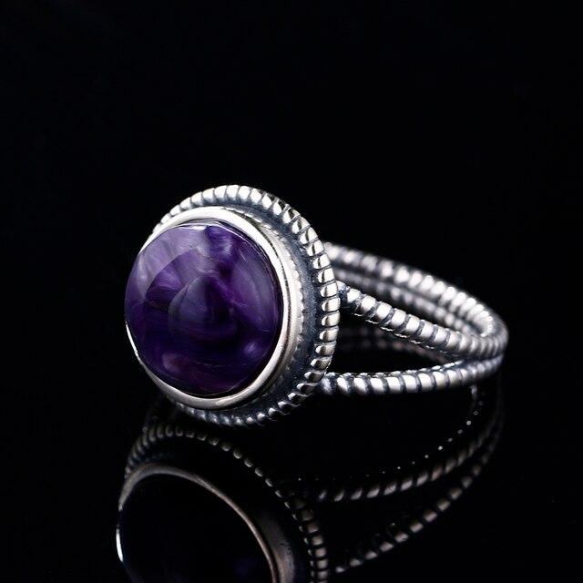 Nasiya nouveauté Vintage Charoite anneaux pour femmes 925 bijoux en argent Sterling avec pierres naturelles cadeau danniversaire