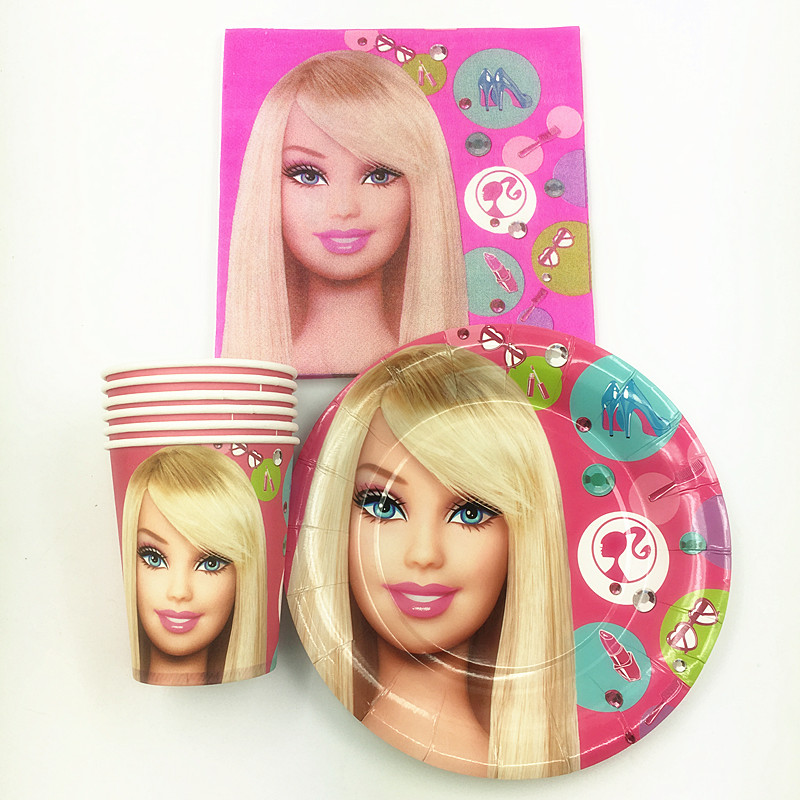30pcs <font><b>Princess</b></font> Gril doll 10pcs <font><b>cups</b></font>+ 10pcs plates+10pcs Napkins Kids gift Birthday Party Decoration Baby Birthday Party Pack