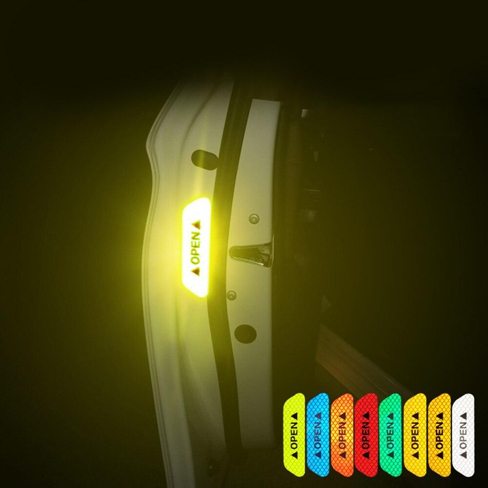 4pcs Car Door Reflective Sticker Warning Tape Car Reflective Stickers Reflective Strips 3 Colors Safety Mark Car-styling