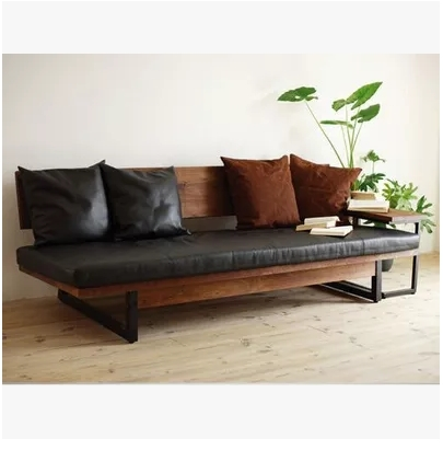 American Iron Retro Three Piece Solid Wood Sofa Cushion Chairs Plus Small And Medium