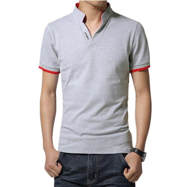 2018 Men Fashion Boutique Cotton Leisure Stand Collar Long Sleeve POLO Shirts Mens Pure Color V-neck POLO Shirt Big Size S-5XL 5