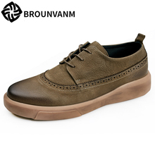 Bullock carved men's casual Genuine leather shoes breathable British reto fashion shoes men all-match cowhide breathable sneaker