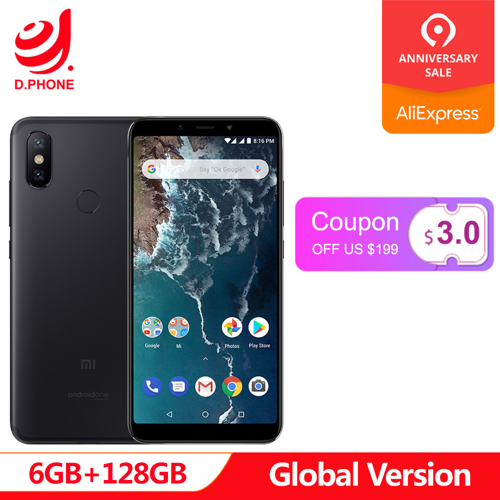 En Stock Version mondiale Xiao mi A2 6 GB 128 GB Android One 5.99 ''plein écran Snapdragon 660 20 + 12 MP AI double caméra téléphone portable